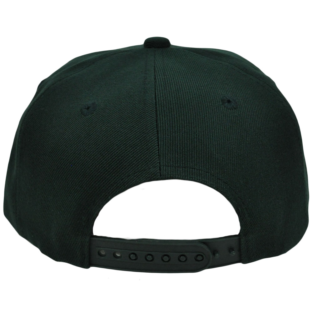 Blank Plain Solid Color Dark Green Flat Bill Visor Snapback Constructed Hat  Cap 78497a46dd7