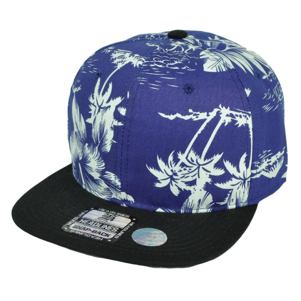 2ff4b73e4d2 Palm Trees Floral Flower Pattern Flat Bill Snapback Hat Cap Blue Plain Blank