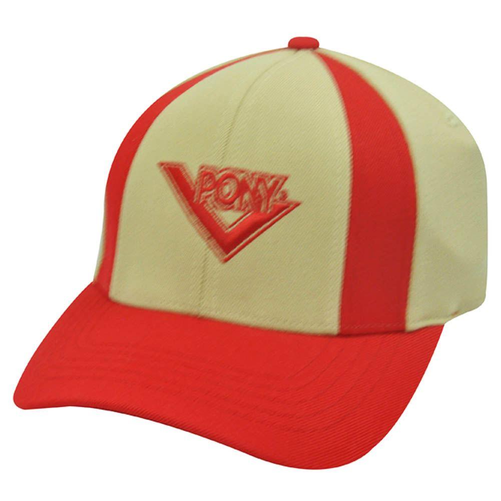 Pony Mens Khaki Red Baseball Hat Cap Flex Fit Small Med