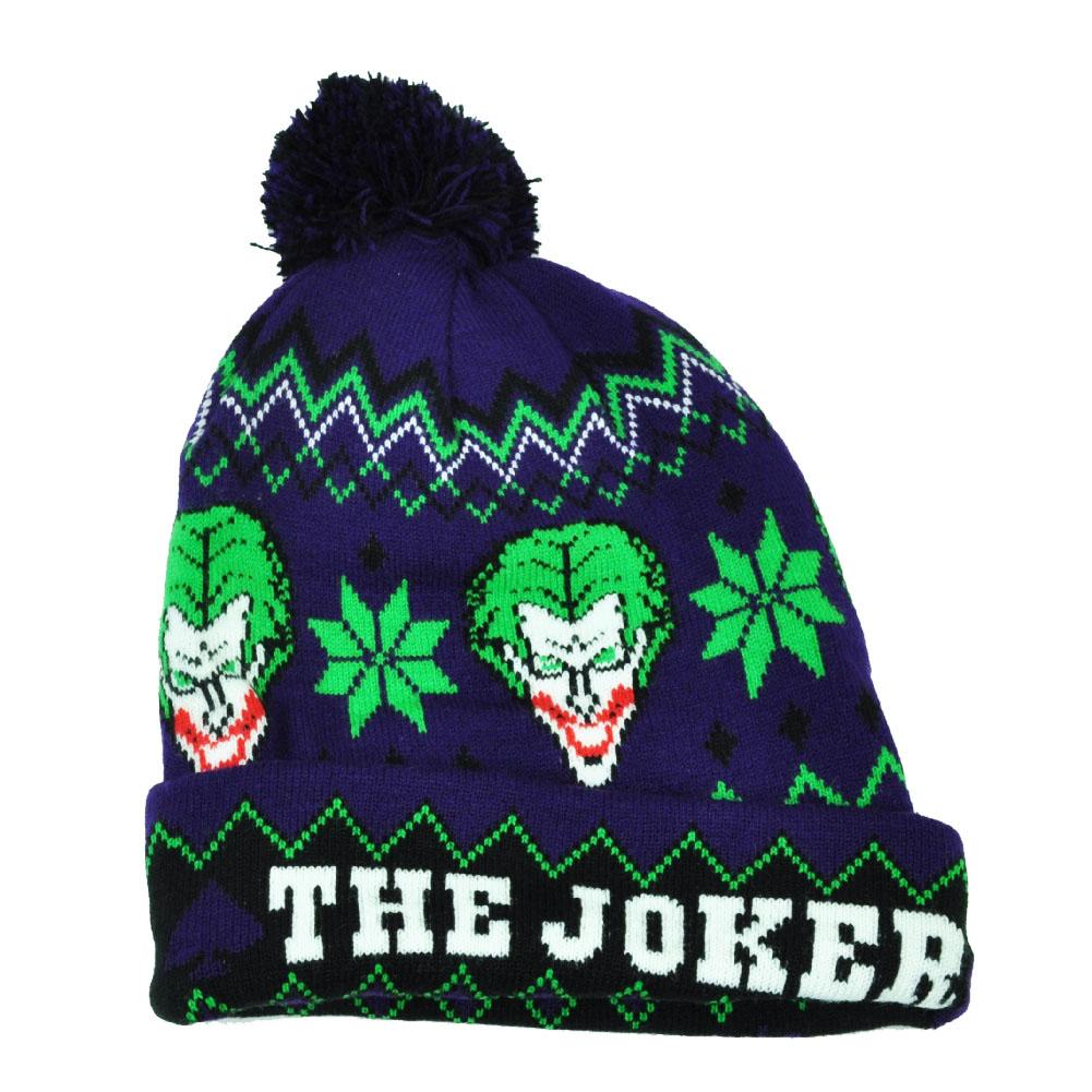 e928406832c DC Comics Batman The Joker Warner Bros Cuffed Beanie Pom Pom Purple Hat  Cartoon