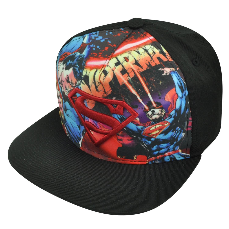 Superman Man of Steel Cartoon Comic Books DC Hero Snapback Flat Bill Hat Cap 7a134b5b1433