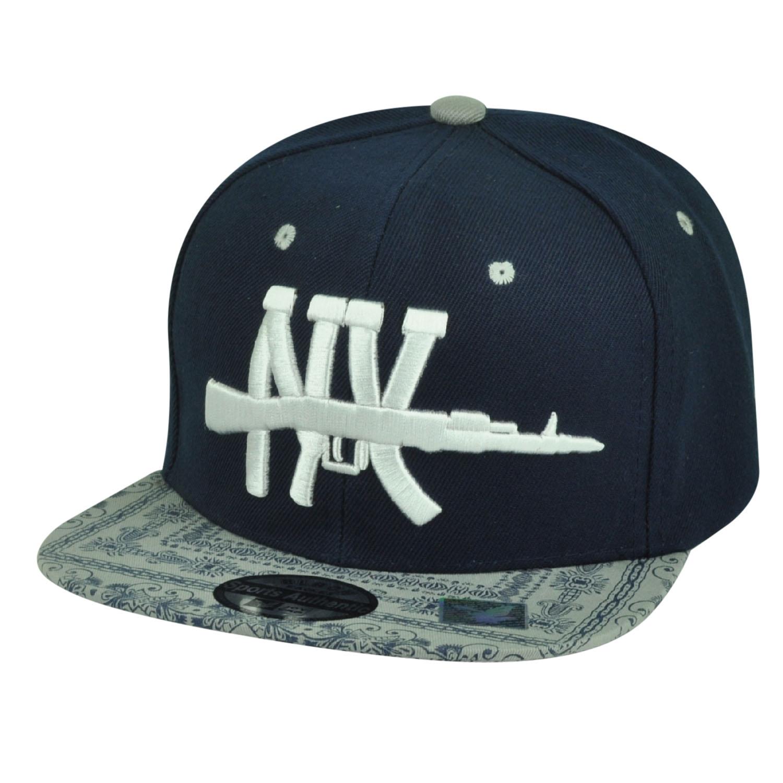 New York City Ornate Pattern Snapback Flat Bill Hat Cap NYC Big Apple Navy  Blue 8a585663b88