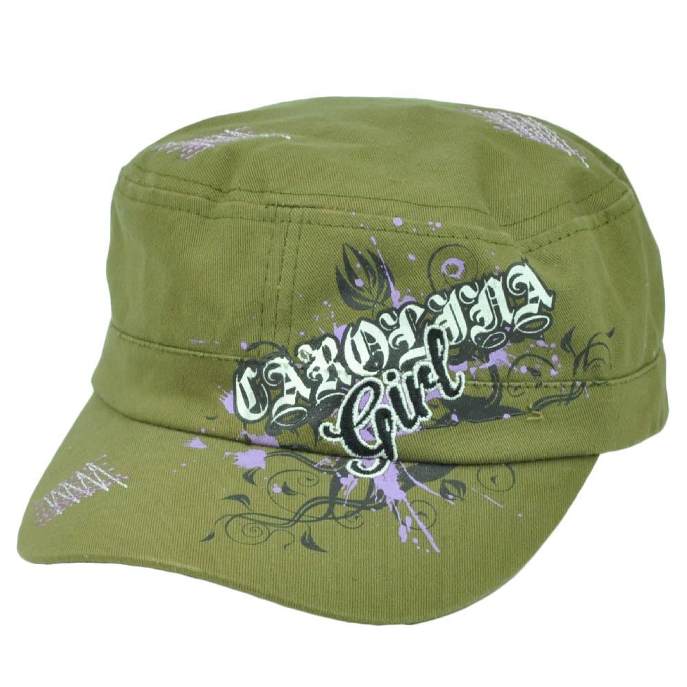 Carolina Girl Army Green Fatigue Military Hat Cap Womens Ladies Clip Buckle e716459fc1