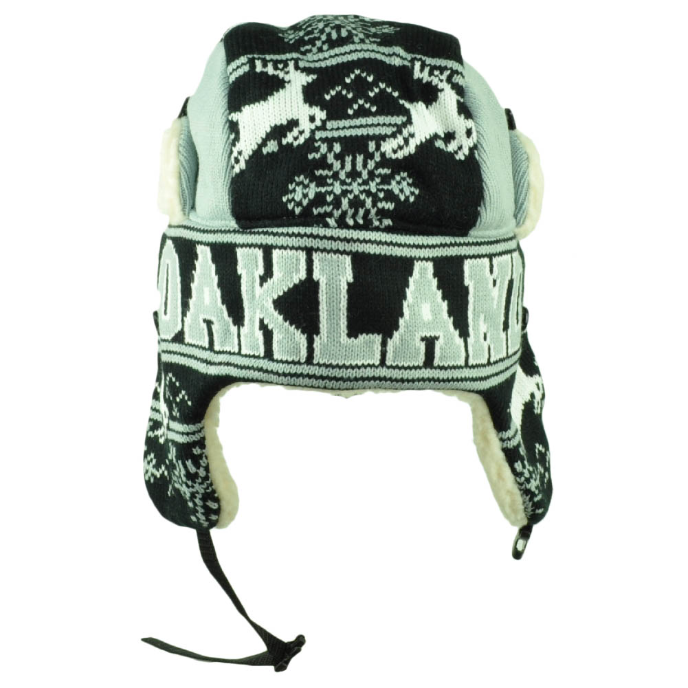 747f0958cb3f2 Oakland Trapper Aviator Knit Beanie Fleece Nordic Hat Ear Flap City Gray  Black