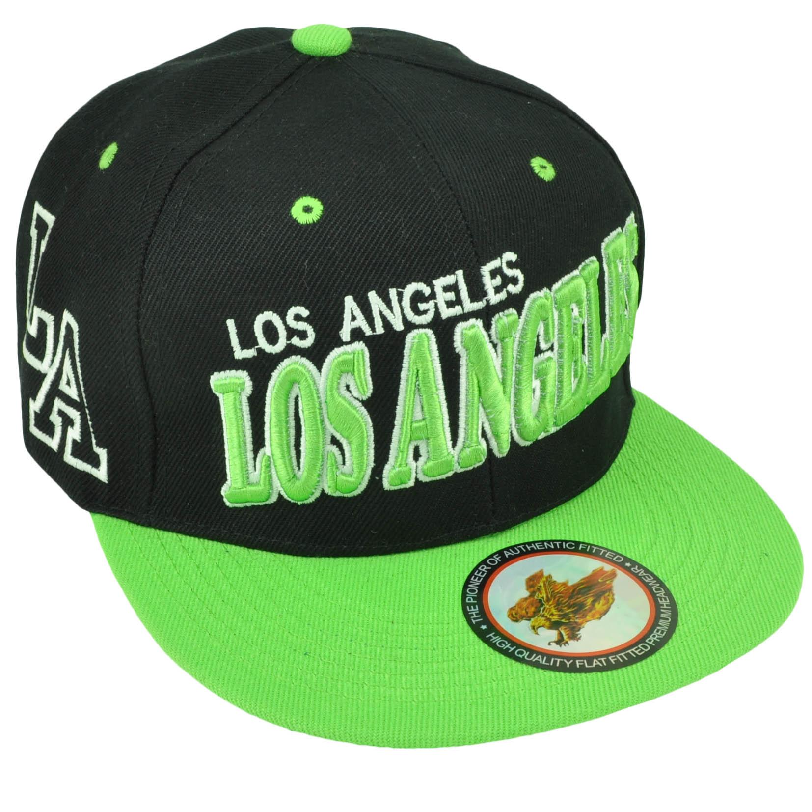 c65eb04ba9c Los Angeles City of Angels LA California CA Black Neon Green Snapback Hat  Cap