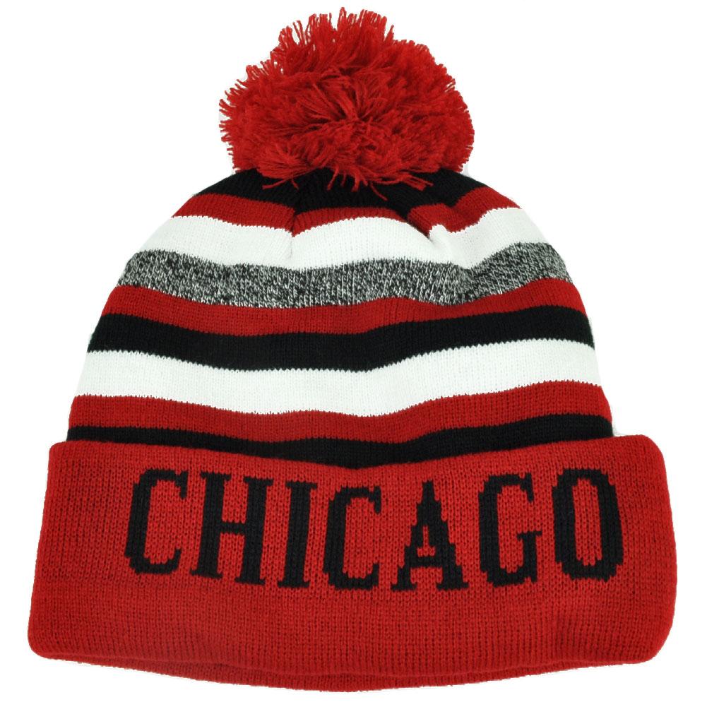 fe290b4a Chicago Pom Pom Cuffed Toque Red White City State Town Beanie Knit Striped  Skull
