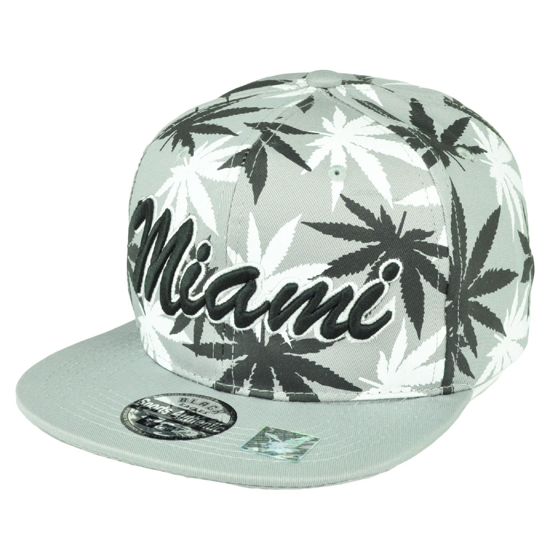 641ddfc102e Miami Florida Sunshine State Marijuana Gray Weed Leaf Snapback Flat Bill Hat  Cap