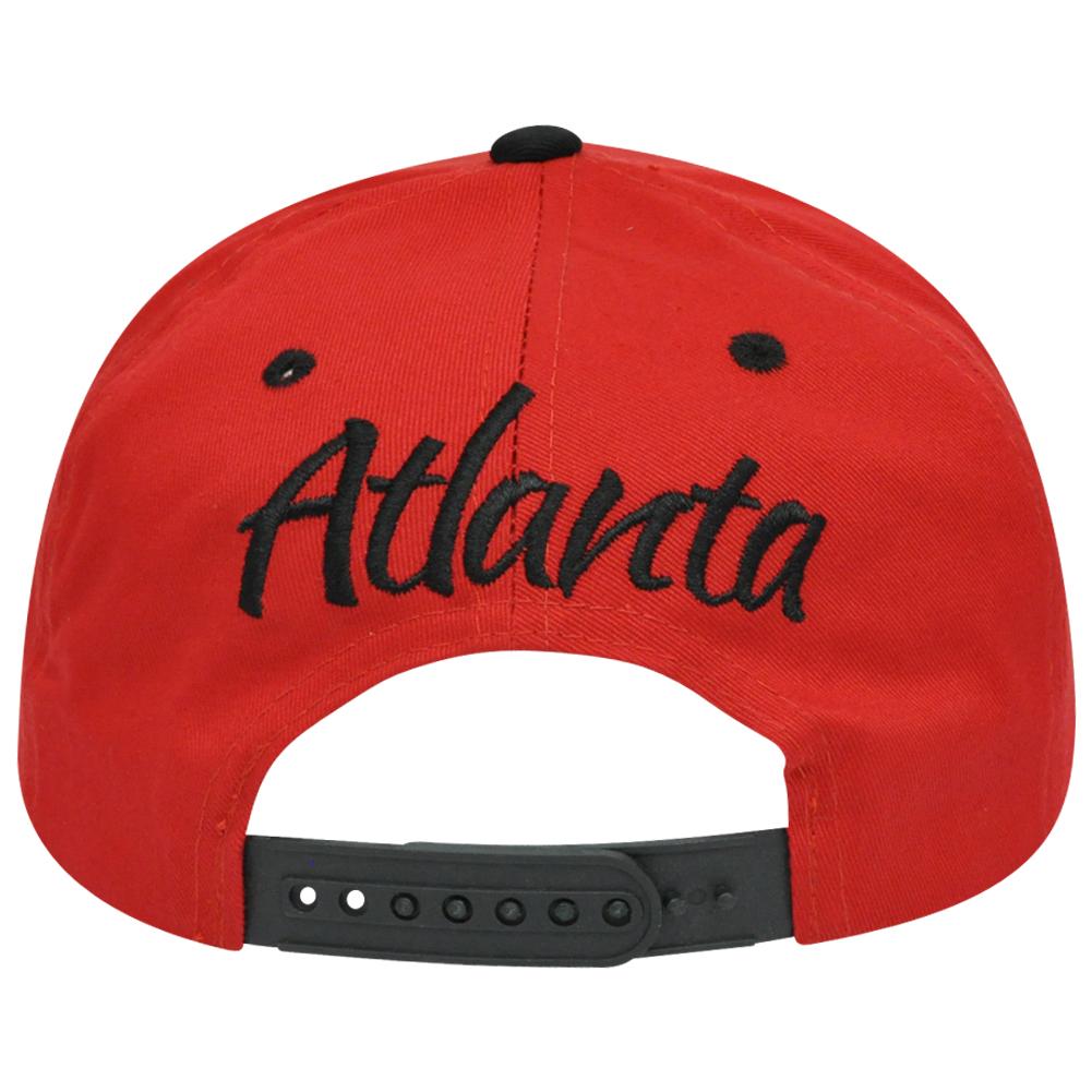 8a233f38eb2 Atlanta City ATL Georgia Italic Script Flat Bill Snapback Red Black Hat Cap