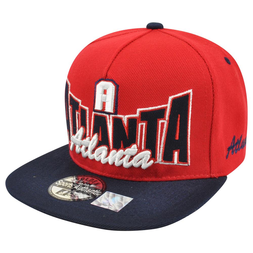 Atlanta City ATL The A Town Georgia USA Red Black Hat Cap Snapback Flat Bill