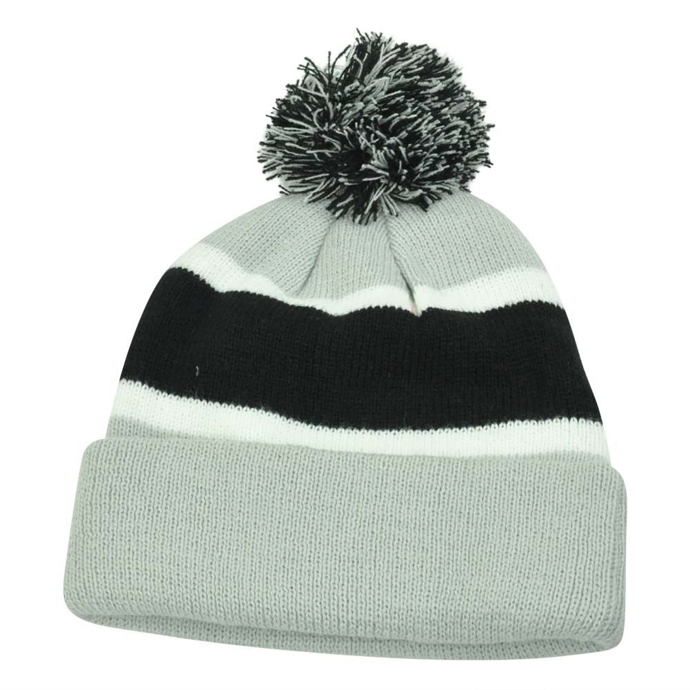plain blank striped cuffed thick beanie pom pom knit skully grey