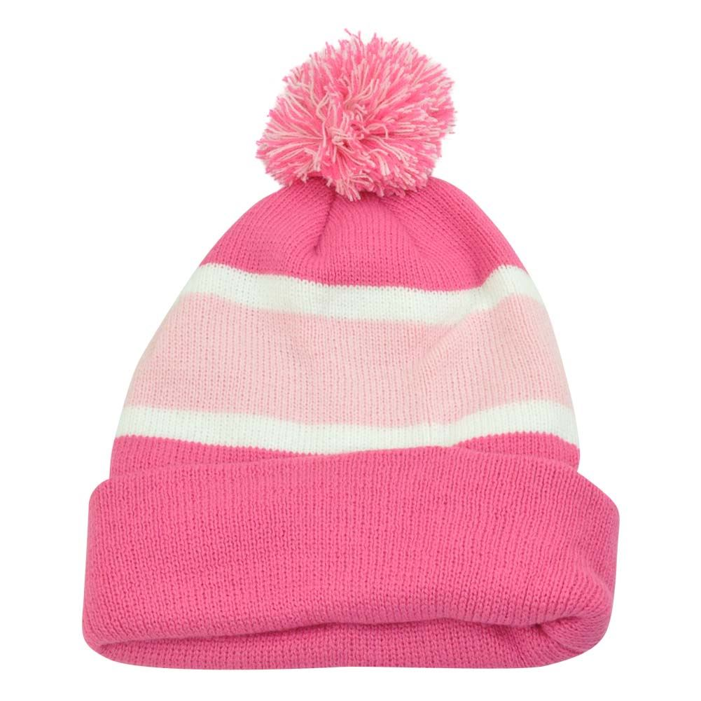 Women Ladies Pink Beanie Pom Pom Knit Thick Hat Plain Blank Striped Cuffed  Toque ef69872b53