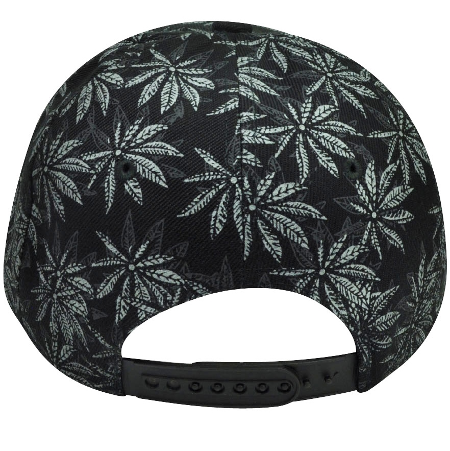 b041ffac5db Marijuana Leaf Flat Bill Snapback Hat Cap Black Green Cannabis High Weed  Ganja