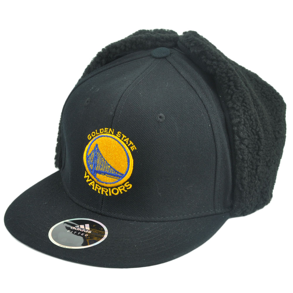 NBA Adidas Golden State Warriors Fitted Ear Flap Hat Cap Black Fleece  Trapper 69c6b801047