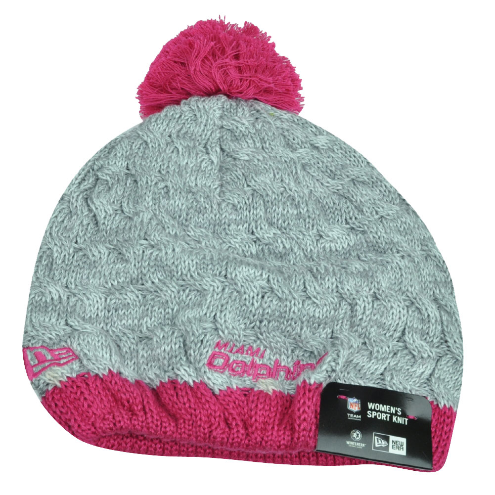 NFL New Era Breast Cancer Awareness Knit Beanie Miami Dolphins Pink Womens  Toque 7fd46c229