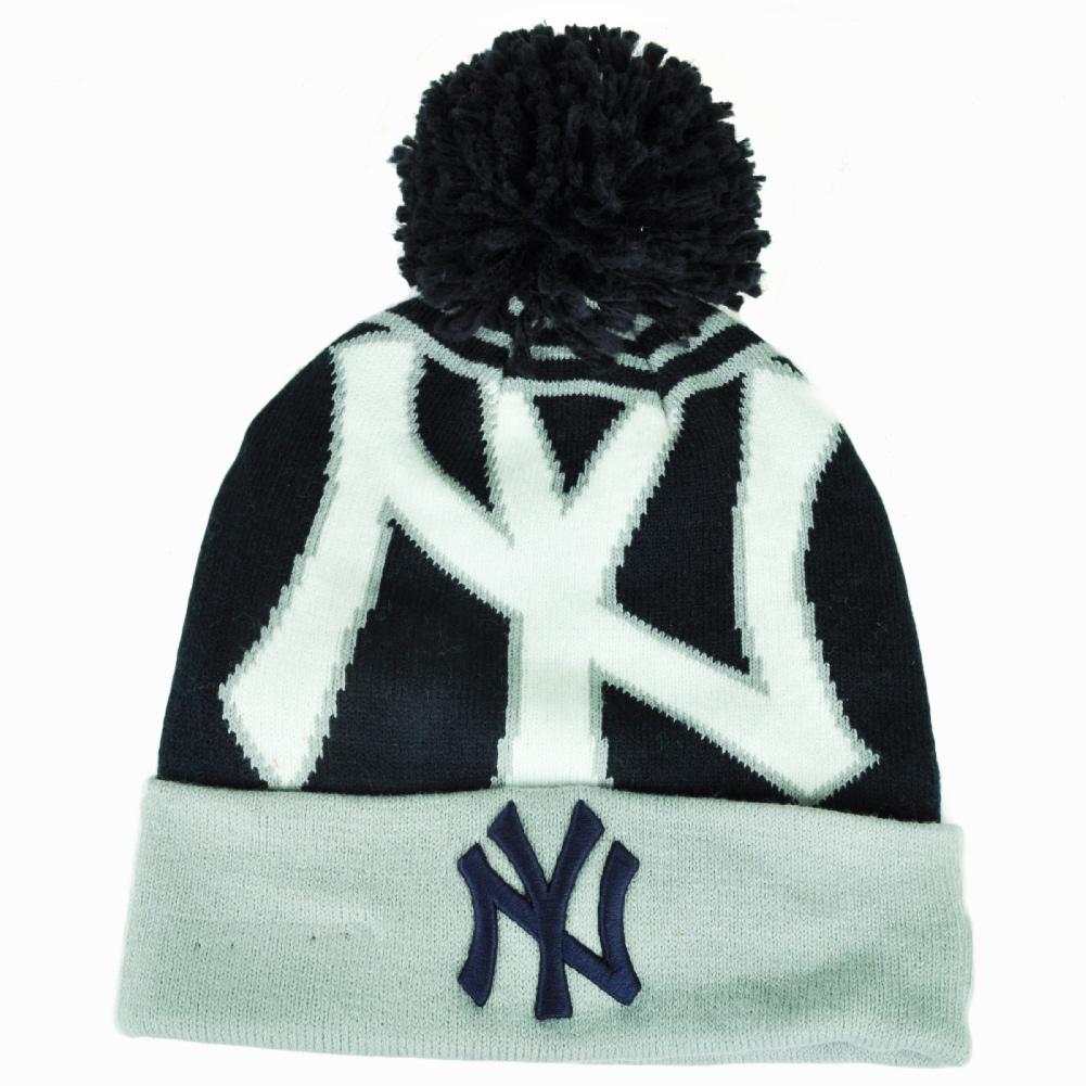 99bd996ca14 MLB New Era New York Yankees Logo Whiz Pom Pom Knit Beanie Cuffed Hat Toque  Blue
