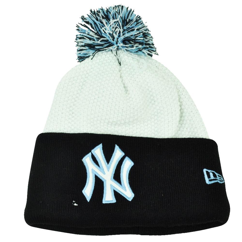 MLB New Era Custom Cuffer New York Yankees Knit Beanie Pom Pom Toque White  Hat 48407487e