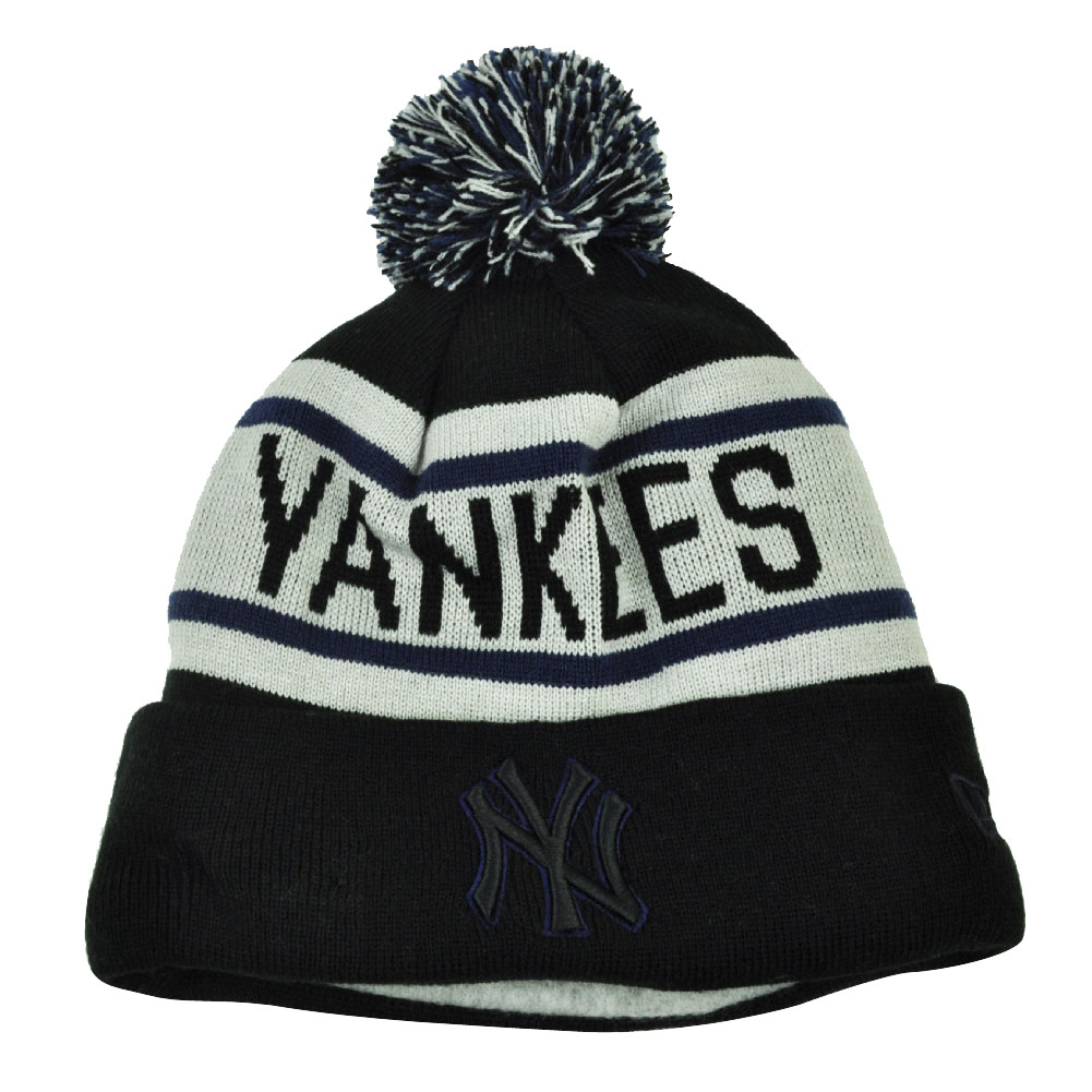 MLB New Era Biggest Fan Pom Pom Striped Cuffed New York Yankees Knit Beanie  Hat 682dbbbc040