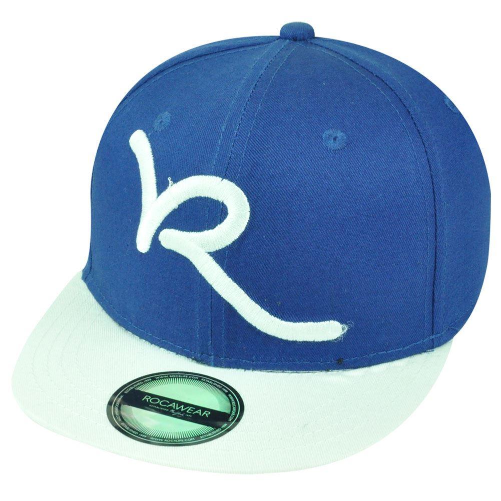 Jay Z Rocawear R Script Core Brand Youth Flat Bill Snapback Hat Cap Blue  White e71096a76cf