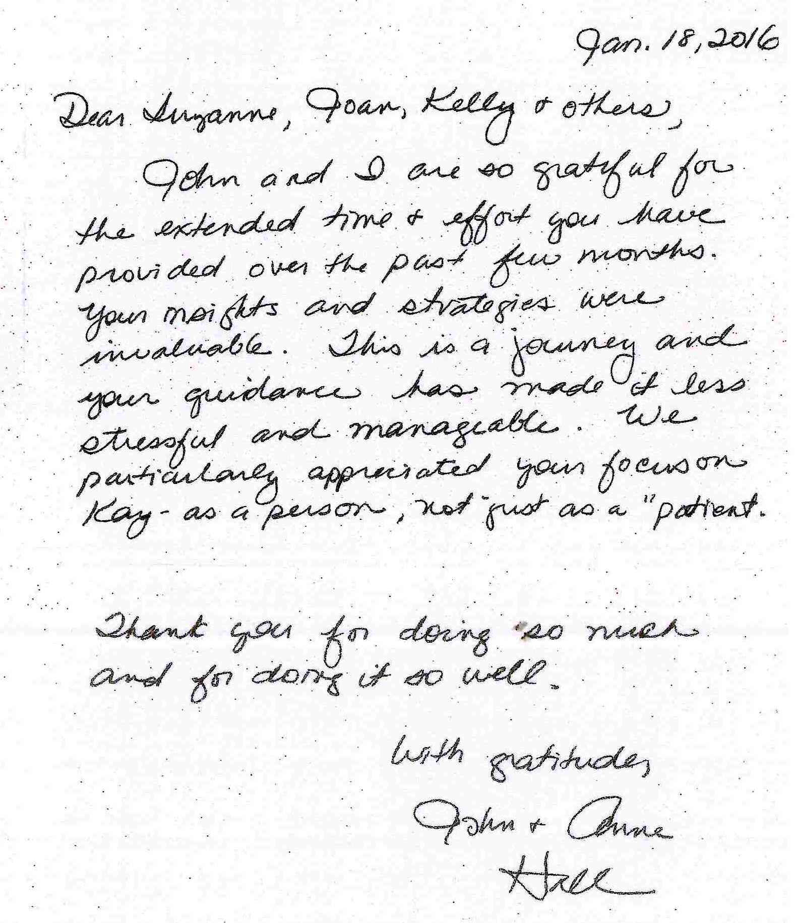 John and Anne Hall Testimonial