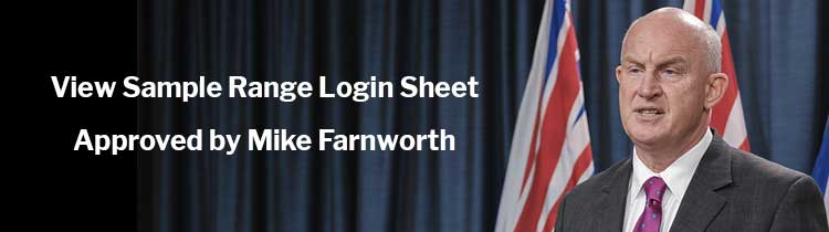 View Sample Range Login Sheet Approved by Mike Farnworth