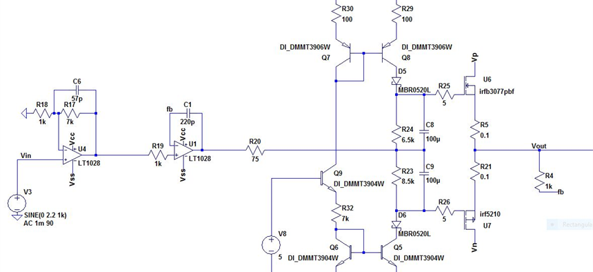 Class AB audio amplifier | Projects | CircuitMaker