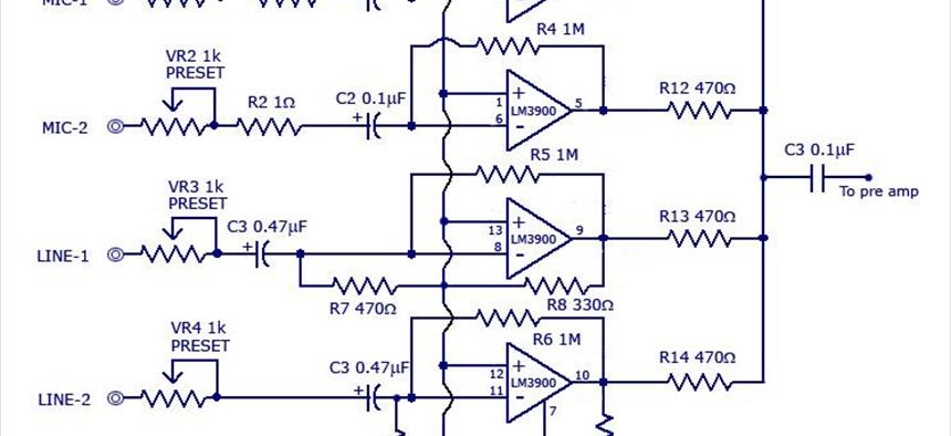 multi channel audio mixer circuit using lm3900 projects circuitmakerLm3900 Audio Mixer Circuit Diagram #12