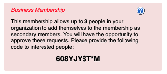 Business Membership Code