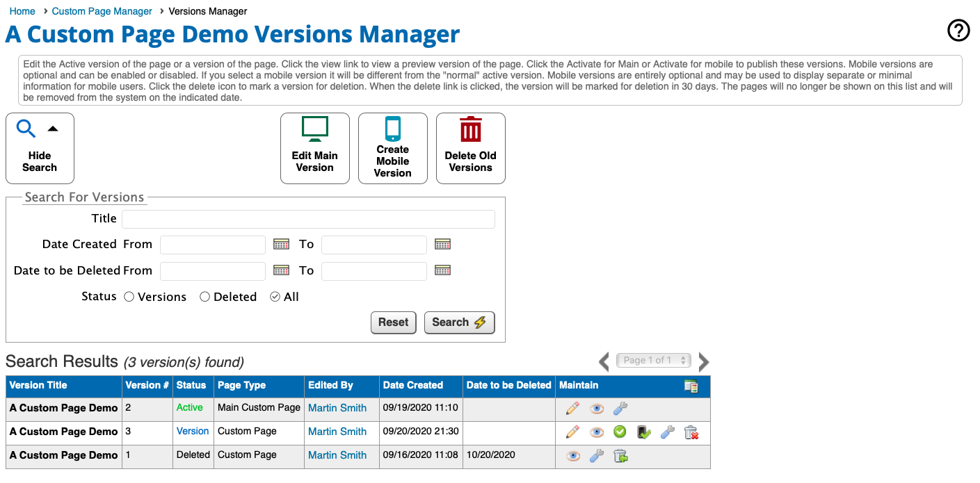 Page Builder Versions Manager