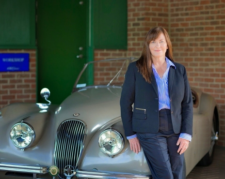 Kim McCullought and her 1954 XK120