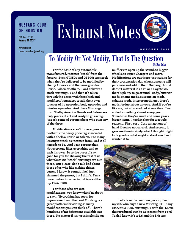 Exhaust Notes - October 2019