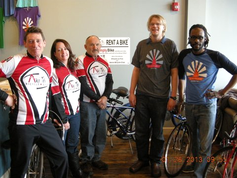 ABC Presenting Bikes and Signs to Cleveland Hostel 1/24/2013