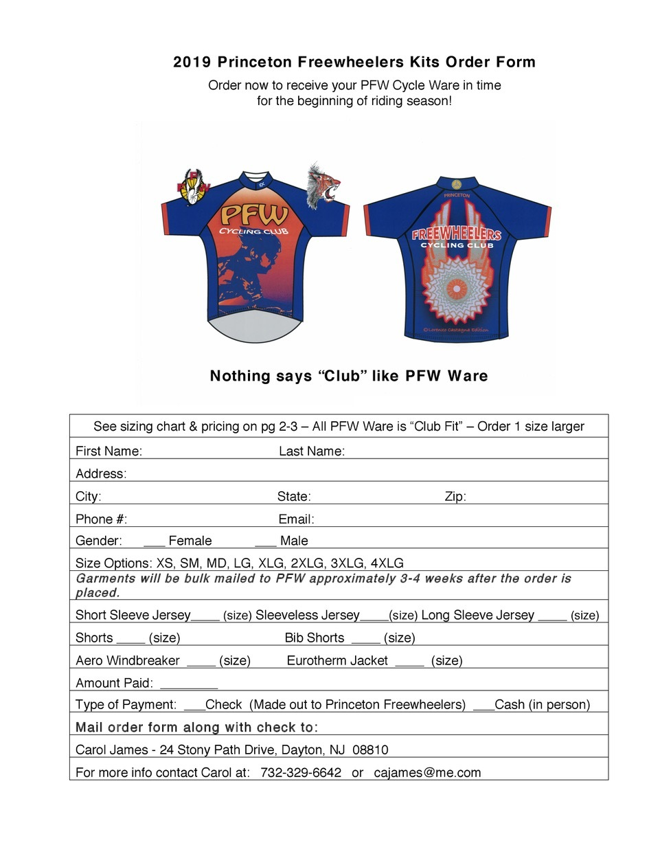 Club gear order form