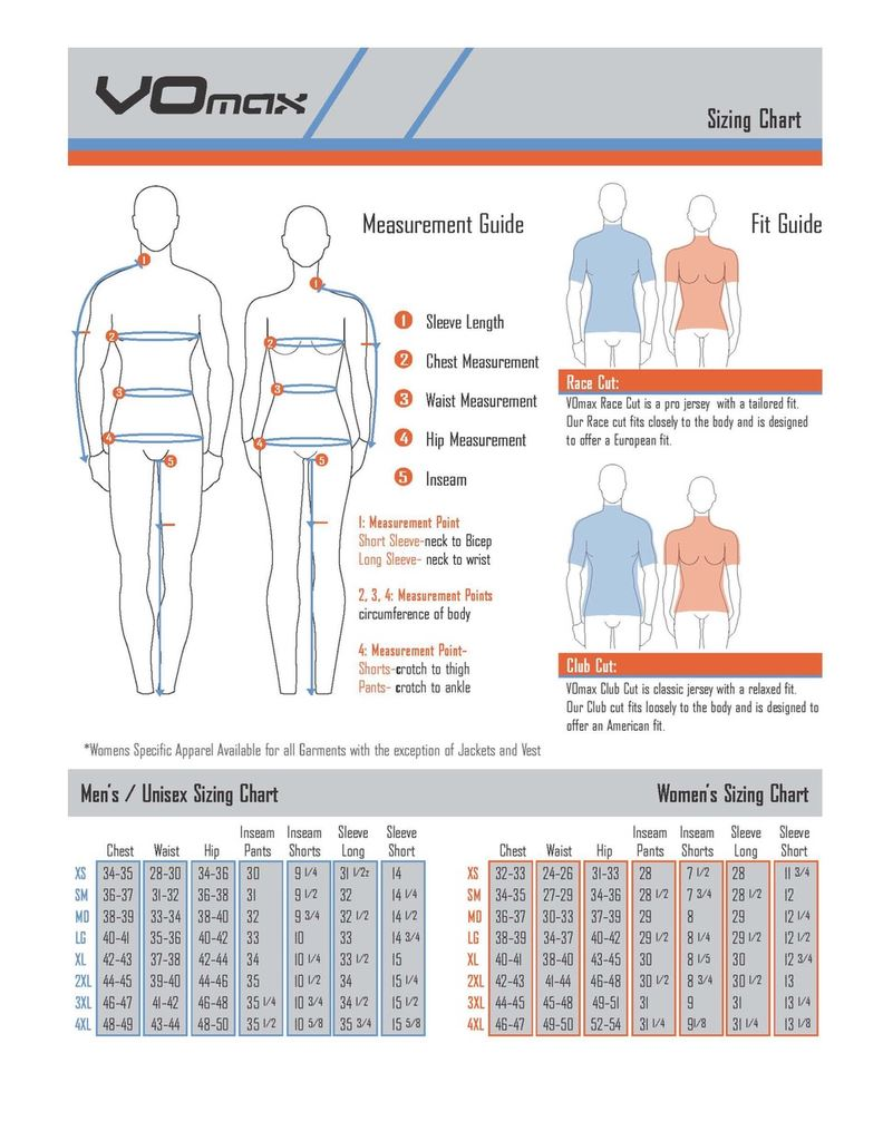 Size chart for jerseys and kit