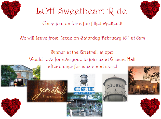 LOH Sweetheart Ride To Gruene, TX - Events - Cut N Shoot