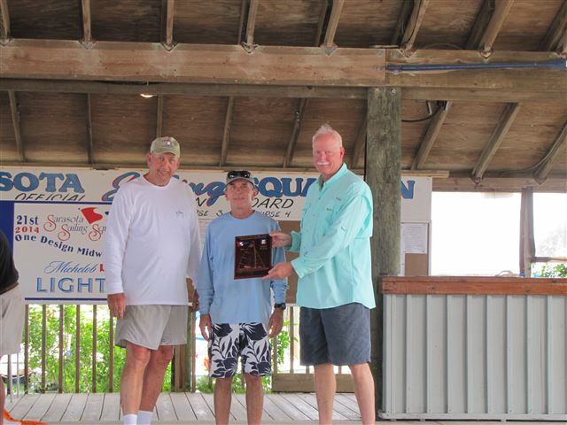 Jim Barr, Andy Hodgins, and Dave Thayer win the 2014 Sarasota One-Design Regatta