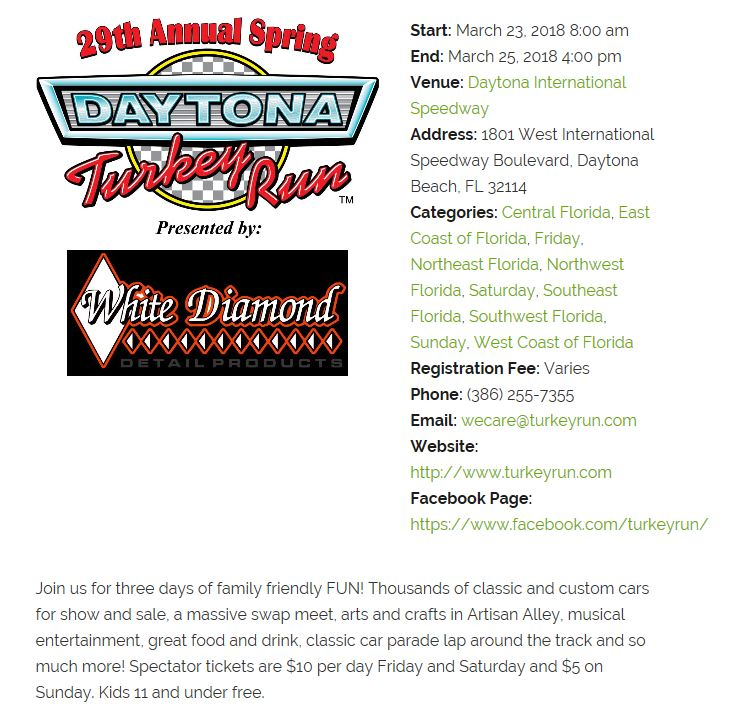Th Annual Spring Daytona Turkey Run Events Tampa Bay Vettes - Daytona spring car show 2018