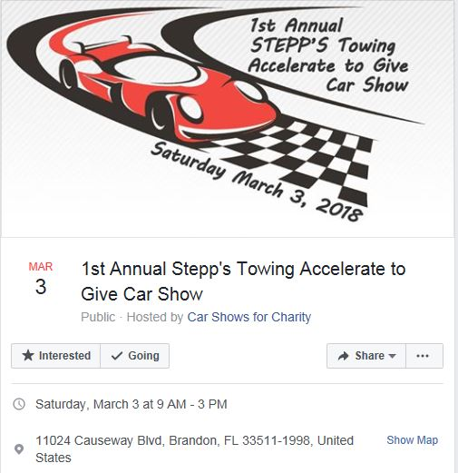 St Annual Stepps Towing Accelerate To Give Car Show Events - Car show brandon fl