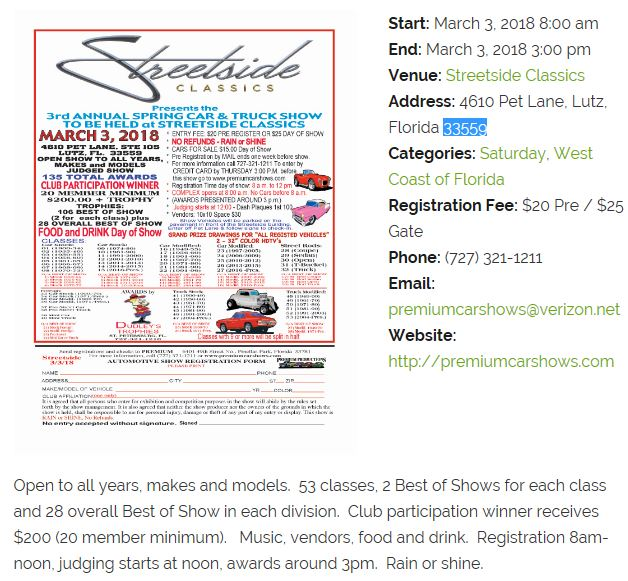 Streetside Classics Spring Car Truck Show Events Tampa Bay Vettes - Streetside classics car show