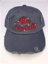 Distressed Baseball Women's Hat with Bling - click to view details