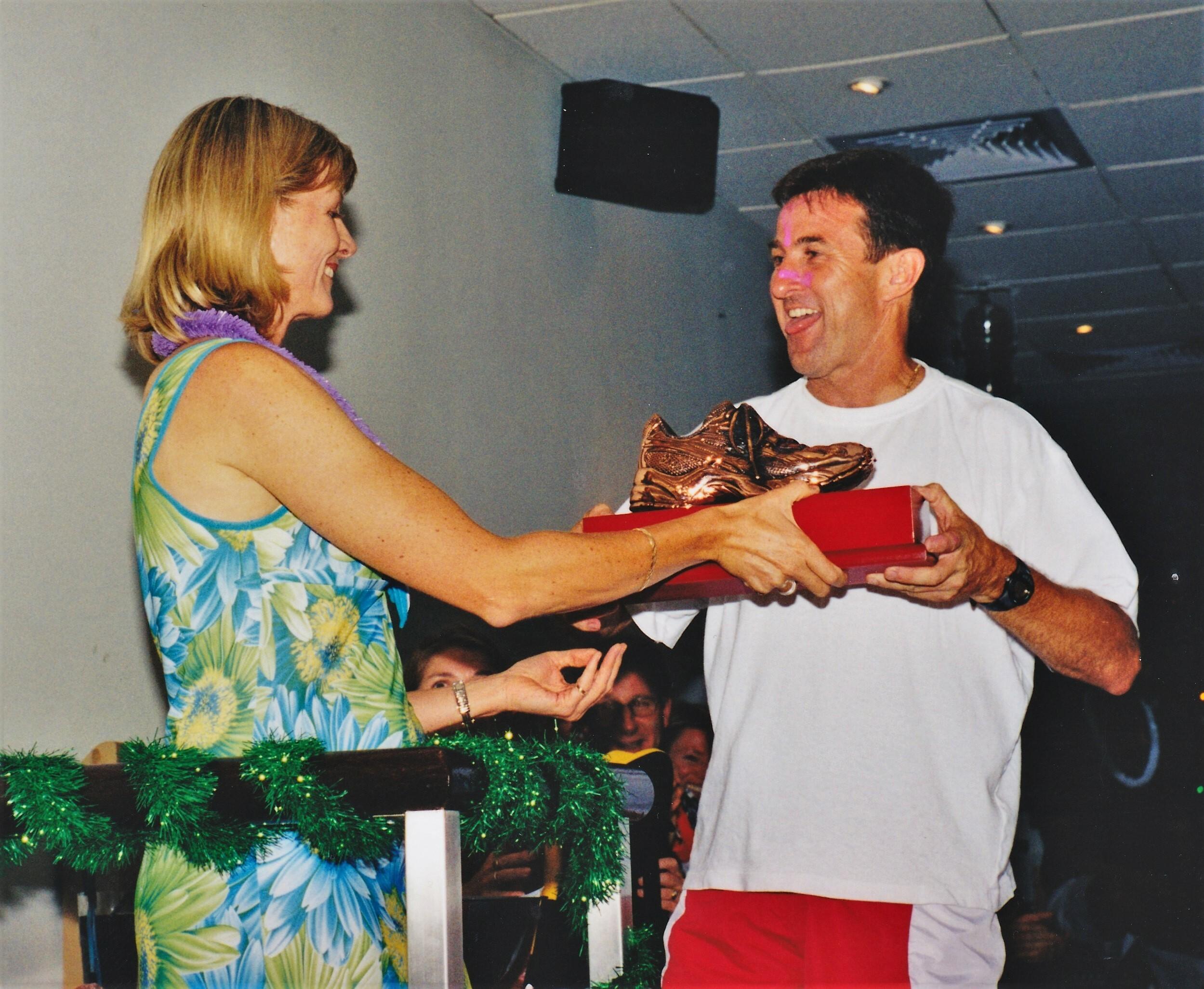 Steve Bruggeman receiving 1st Runners Choice Award NRG 18 December 2002.