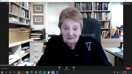 "Former Secretary of State and New York Times bestselling author Madeleine Albright agreed to meet with us via Zoom on May 28th to talk about her latest book ""Hell and Other Destinations"""