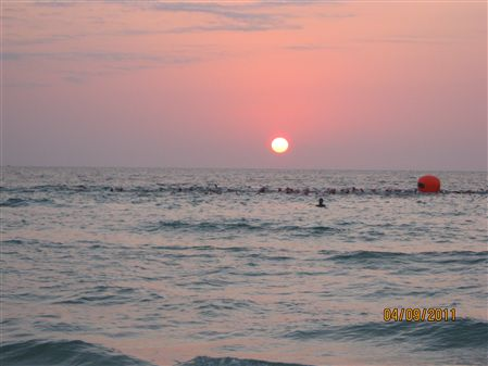 Wave Swim Start at Sunrise