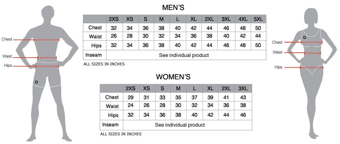 Pactimo Size Chart