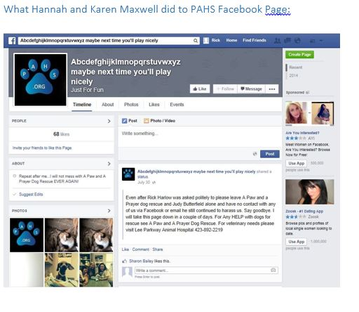 What Hannah And Karen Maxwell Did To Pahs Facebook Page Agape