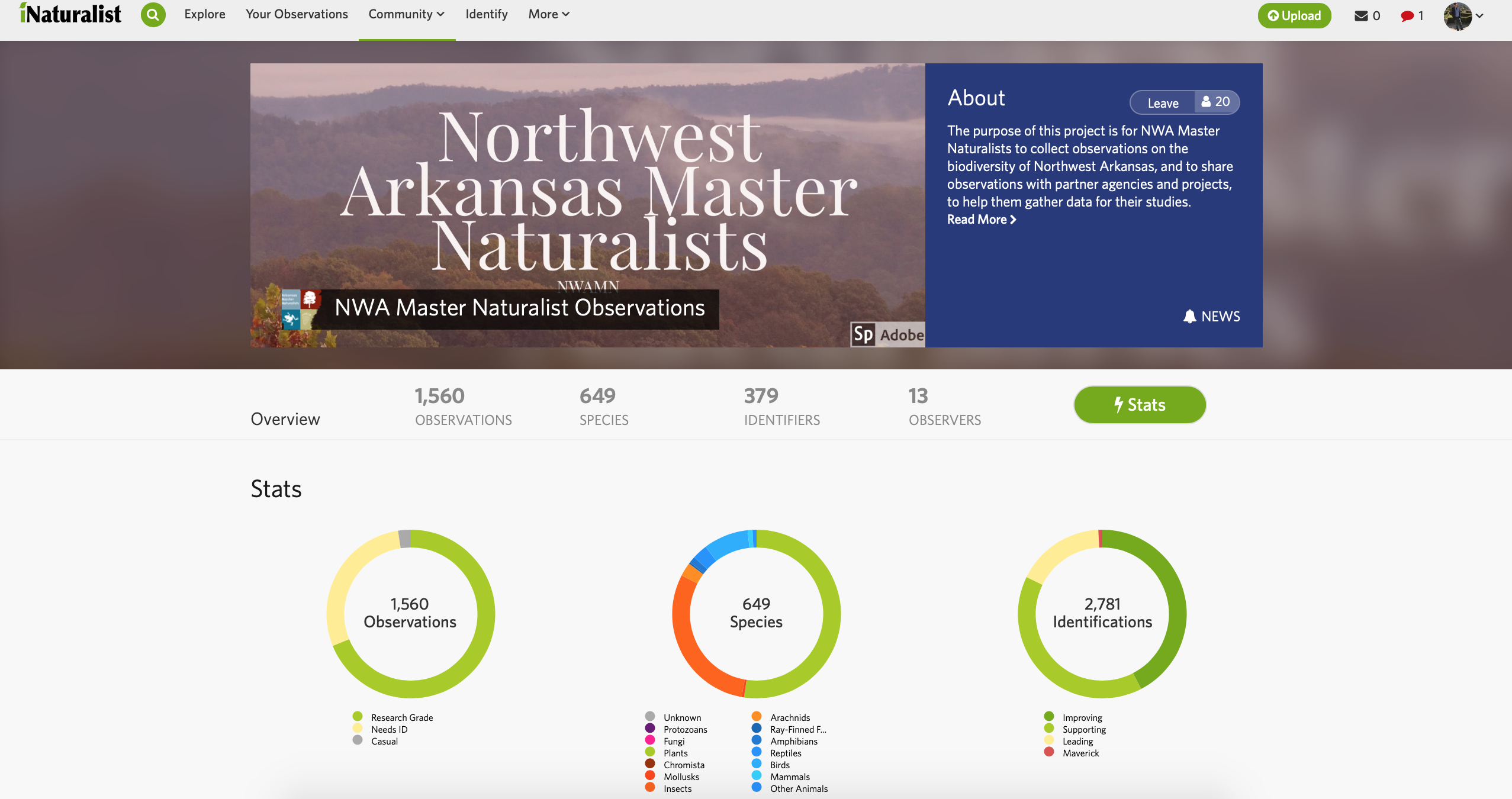 iNaturalist Project Landing Page