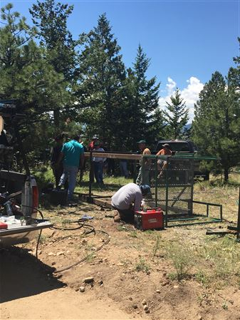 With the pine tree destroyed in 2010 Four Mile fire, we now have an elevated shooting platform anchored in concrete and reinforced steel frame.  Effort led by Frank Zuppo and Matt Bassman.