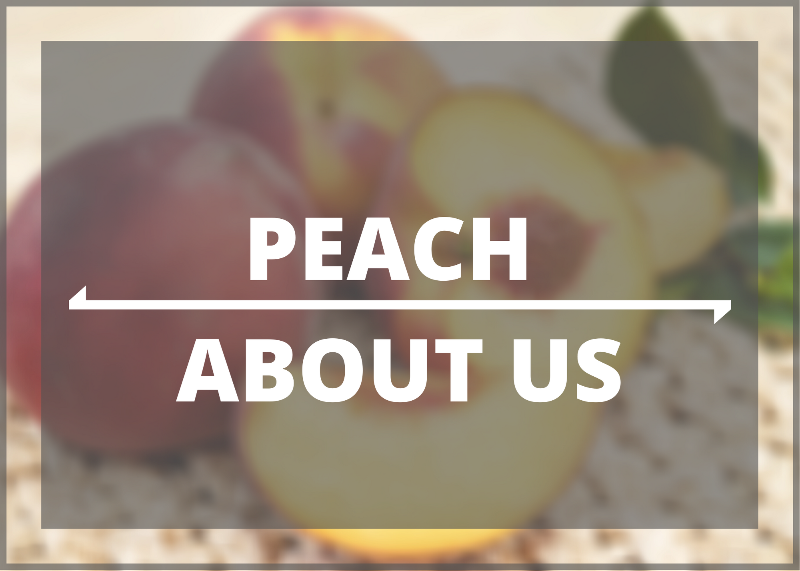 PEACH ABOUT US with peaches in background