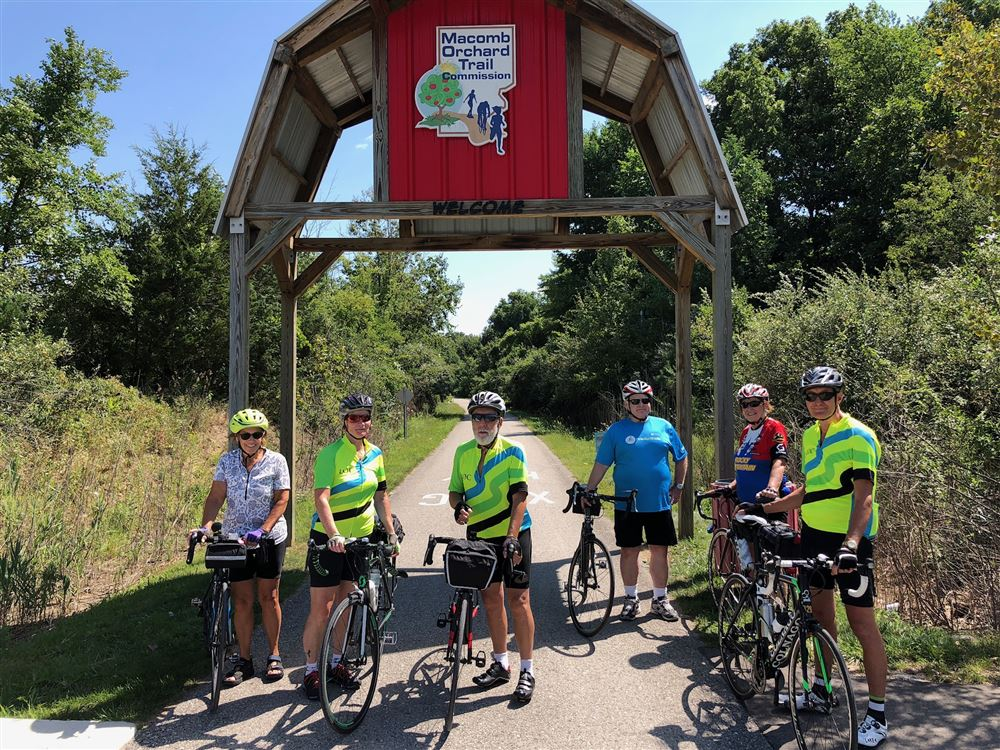 Seven LOC members enjoyed a beautiful afternoon cycling about 80 km on a paved rail trail starting in Richmond, Michigan with a stop halfway for lunch at an Italian restaurant outdoor patio.