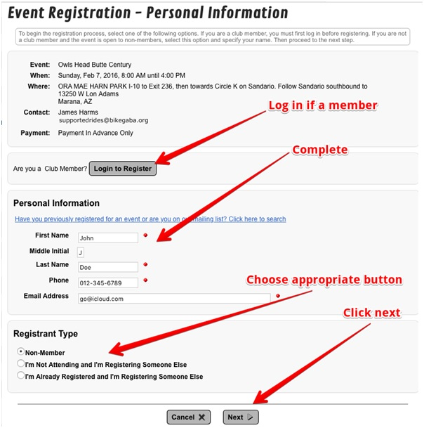 Event Registration Process - Greater Arizona Bicycling