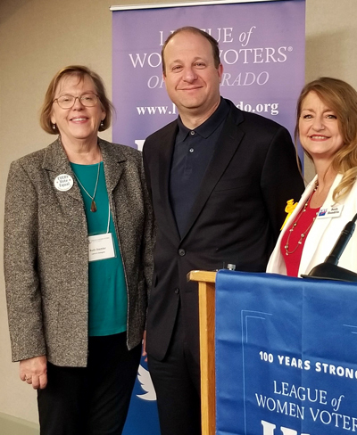 Governor Polis at a League of Women Voters Colorado Event